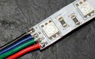 Пайка соединения ленты с кабелем