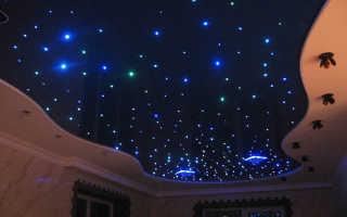 Потолок, сделанный по технологии звездного неба