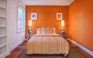 Спальня в оранжевых тонах