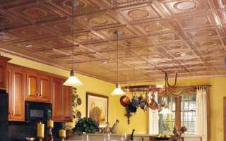 Полистирольная плитка для потолка на кухне