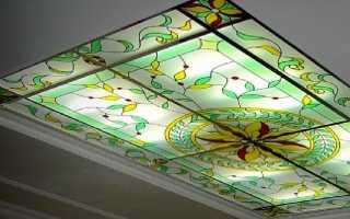 Витражный кассетный потолок с лазерной гравировкой