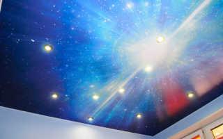 Схема натяжного потолка «Звёздное небо» с проколом полотна