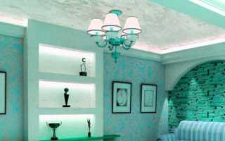 Натяжной потолок, выполненный под мрамор