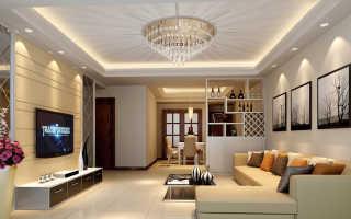 Отделка потолка в гостиной