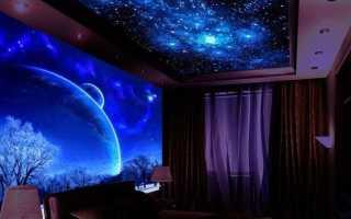 Красивый натяжной потолок «Звездное небо»